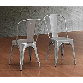 Tabouret Stackable Bistro Steel Side Chairs (Set Of 2)   Silver Finish