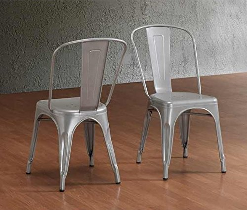 Incroyable Tabouret Stackable Bistro Steel Side Chairs (Set Of 2)   Silver Finish