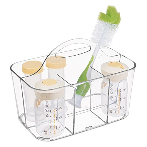 mDesign Nursery Storage Caddy Divided Bin - BPA Free - 4 Section Tote with Built-In Handle for Organizing Bottles, Spoons, Bibs, Pacifiers, Diapers, Wipes, Baby Lotion - Clear from mDesign