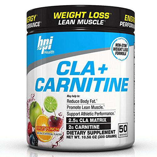 BPI Sports Cla + Carnitine Non-Stimulant Weight Loss Supplement Powder, Fruit Punch, 11.29 Ounce
