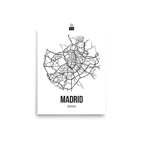 Amazon.com: Madrid Map Wall Art Print, Unframed Madrid Poster City ...