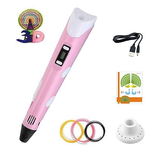 Pluma rosa Bol/ígrafo Impresi/ón 3D con Pantalla LCD y Ajuste de Velocidad y Temperatura