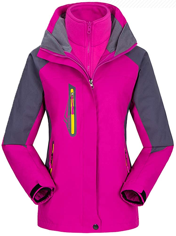pink Red AbelWay Women's Mountain Waterproof Windproof Fleece 3 in 1 Jacket Ski Hooded Rain Coat