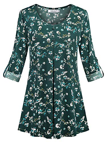 Helloacc Plus 3/4 Sleeve Shirts for Women,U Neck Floral Blouse Casual Work Tops Vintage Collar Botton up Flare Curved Hem Pleated Juniors Easy Fit T-Shirt Loose Flattering Latest Fashion ArmyGreen 1X -