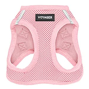 """Voyager Step-in Air Dog Harness - All Weather Mesh, Step in Vest Harness for Small and Medium Dogs by Best Pet Supplies - Pink (Matching Trim), XS (Chest: 13 - 14.5"""" ) (207T-PKW-XS)"""
