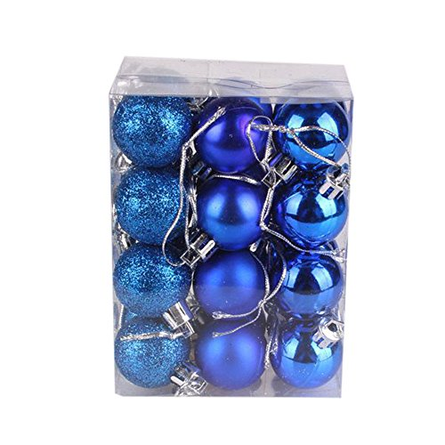 30/40/60/80mm Christmas Xmas Tree Ball Bauble Hanging Home Party Ornament Decor (24PC 30mm Blue) (Skirt Christmas Wicker Tree)