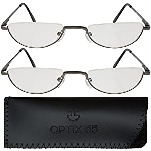 2 Men's Half Frame Reading Glasses With Pouch - Comfortable Gunmetal Frame with Rubber Tip Temples - Pack of 2 Readers - +150 - By Optix 55