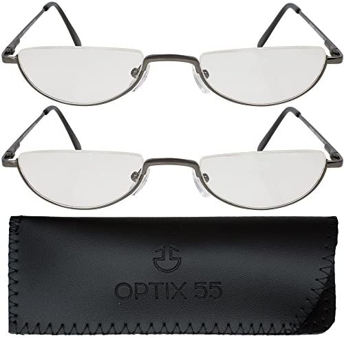 2 Men's Half Frame Reading Glasses With Pouch - Comfortable Gunmetal Frame with Rubber Tip Temples - Pack of 2 Readers - By Optix 55