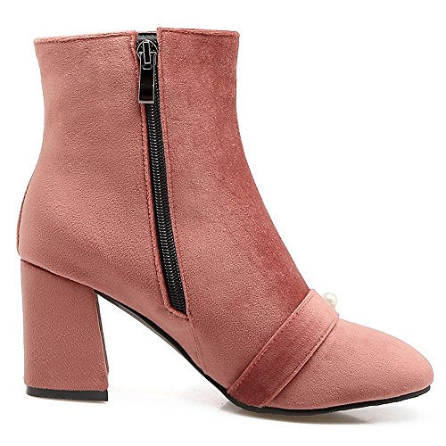 COOLCEPT Mujer Comodo Tacon Ancho Ankle Botas With Side Cremallera Pink