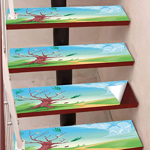 (3D Print Non-Slip PVC Stair Pads,Self-Adhesive Steps Sticker,Staircase Treads Protector,Romantic Landscape with Tree and A Swing by Road Path in Wind Cartoon Print,for Home Decoration(9.8X39 inch) Set)