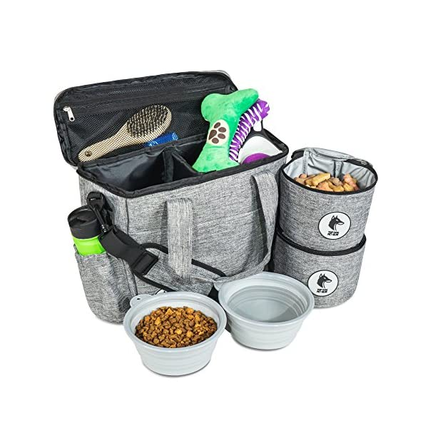 Top Dog Travel Bag – Airline Approved Travel Set for Dogs Stores All Your Dog Accessories – Includes Travel Bag, 2X Food Storage Containers and 2X Collapsible Dog Bowls.