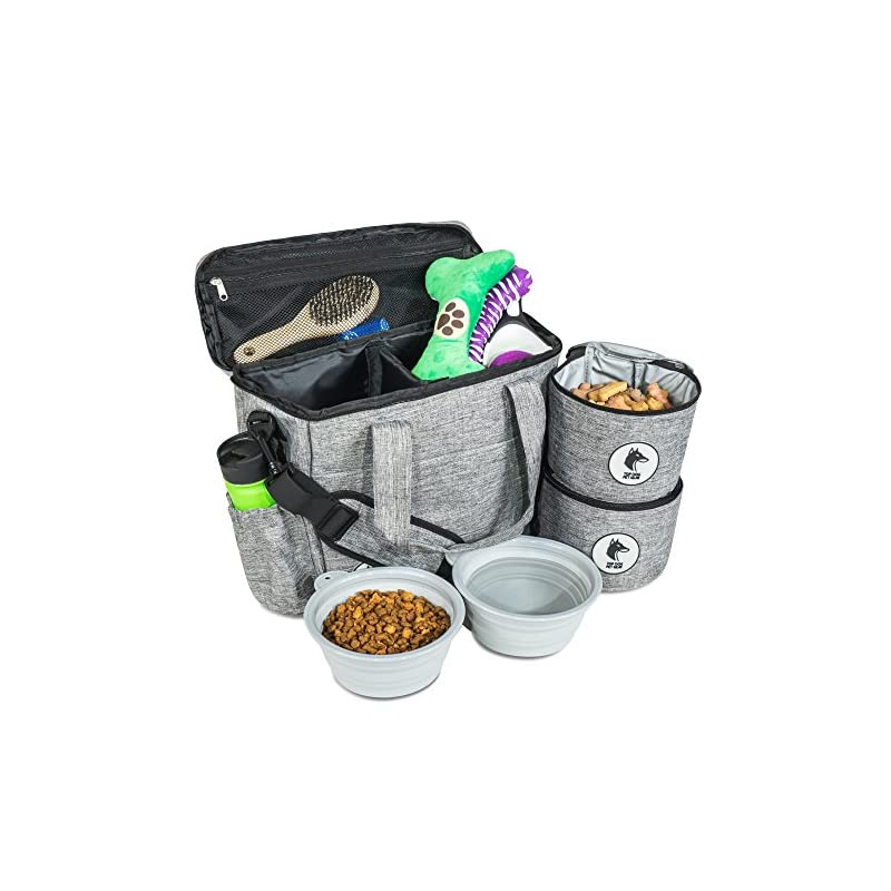dog supplies online top dog travel bag - airline approved travel set for dogs stores all your dog accessories - includes travel bag, 2x food storage containers and 2x collapsible dog bowls.