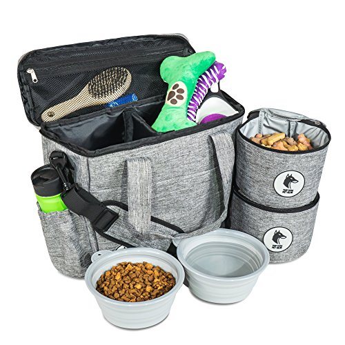 - Top Dog Travel Bag - Airline Approved Travel Set for Dogs Stores All Your Dog Accessories - Includes Travel Bag, 2X Food Storage Containers and 2X Collapsible Dog Bowls.