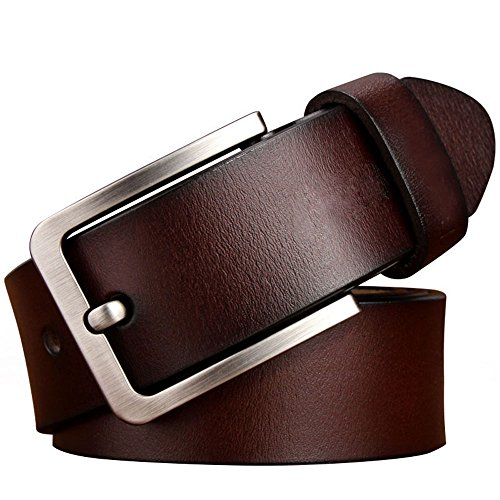 JingHao Belts for Men Genuine Leather Belt for Jeans Dress Black Brown Regular Big and Tall Size 28