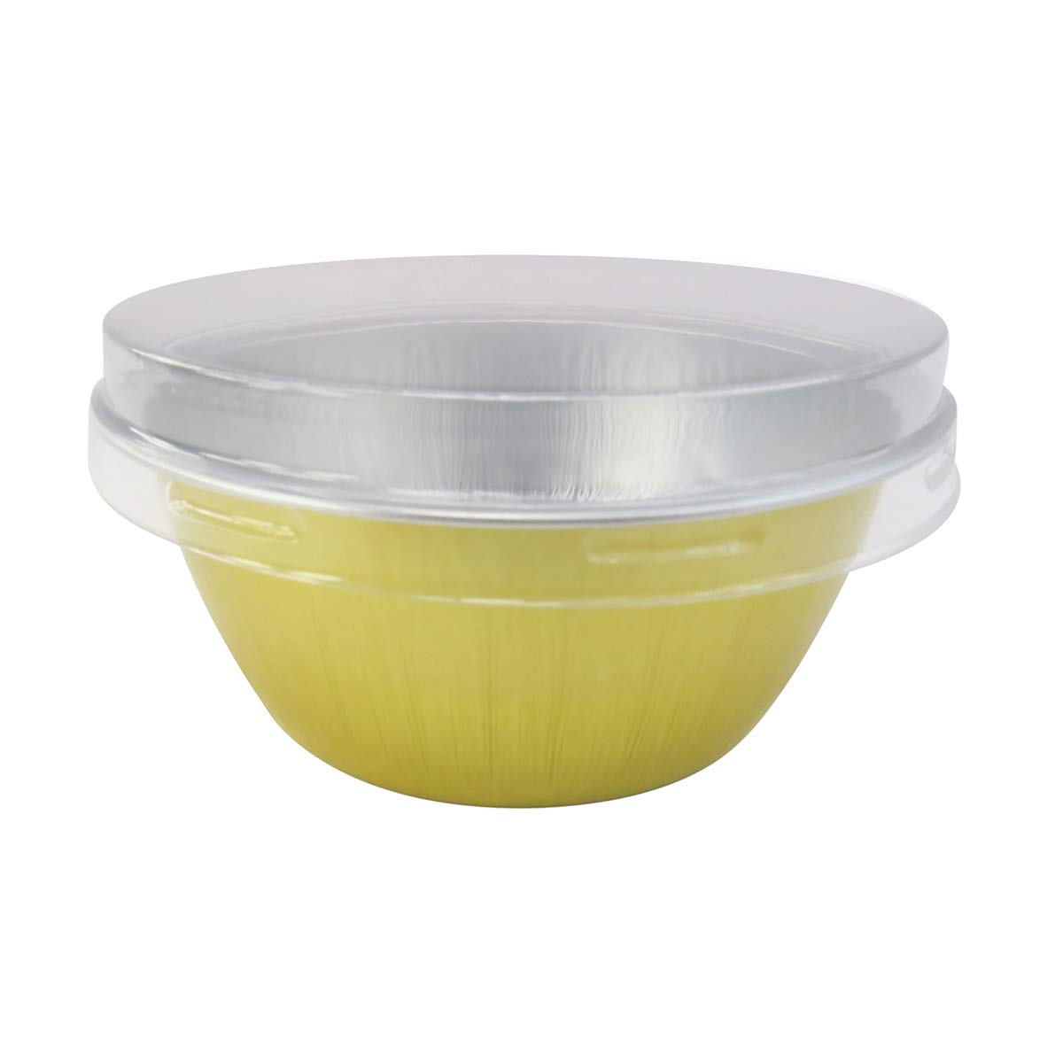 KitchenDance Disposable Aluminum Colored Baking Cups- Creme Brulee cups- Dessert Cups- 4 oz. Size with Lids (100, Gold w/Flat Lid) by KitchenDance