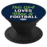 """PopSockets Cell Phone Stands - Smartphones & Tablets - """"This Girl Love Wine & Football - Green"""""""