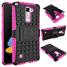LG Stylus 2 Case, MCUK Heavy Duty Rugged Dual Layer - Soft/Hard Shell 2 in 1 Tough Protective Cover Case with Kickstand for LG Stylus 2 / LG G Stylo 2 / LG LS775 (Rose)