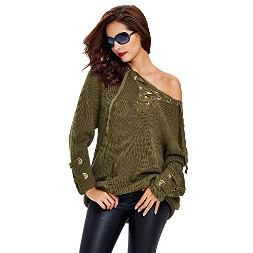 [FWQ Women Hollow Knitted Sweater Coat (Free Size, Army Green)] (Cute Army Girl Halloween Costumes)