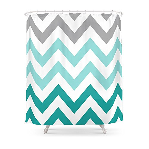 Society6 TEAL FADE CHEVRON Shower Curtain 71' by 74'