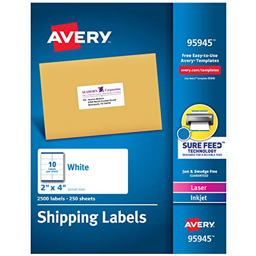 Avery Shipping Address Labels, Laser & Inkjet Printers, 2,500 Labels, 2x4 Labels, Permanent Adhesive (95945), -