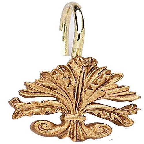 Fleur Di Lis Shower Curtain Hooks (Set of 12) Color: Gold ()