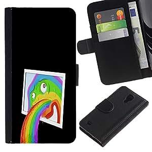 KLONGSHOP // Tirón de la caja Cartera de cuero con ranuras para tarjetas - Divertido abstracta del arte pop del arco iris - Samsung Galaxy S4 IV I9500 //