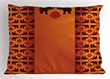 Lunarable Ethnic Pillow Sham, African Safari Animal Elephant with Tribal Ethnic Details Ombre Art, Decorative Standard King Size Printed Pillowcase, 36 X 20 inches, Orange Burgundy and Red