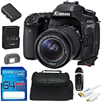 Canon EOS 80D DSLR Camera with 18-135mm Lens + 64GB Pixi-Starter Accessory Bundle w/ Camera Bag