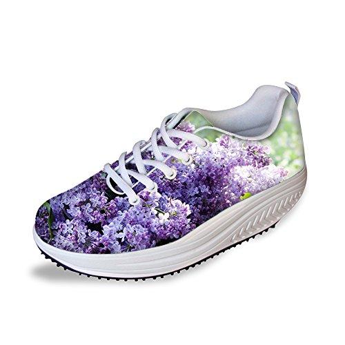 FOR U DESIGNS Vintage Floral Print Fitness Walking Sneaker Casual Womens Wedges Platform Shoes Floral Purple-4 TySP3v6P