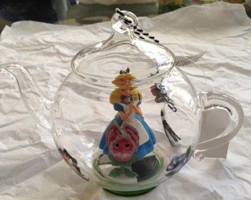 Disney Park Alice in Wonderland Clear Glass Teapot with Figurine Ornament NEW