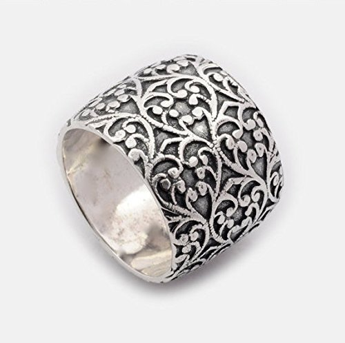 Unique wide sterling silver wedding band nature leaf motif ring by By Nature Jewellery