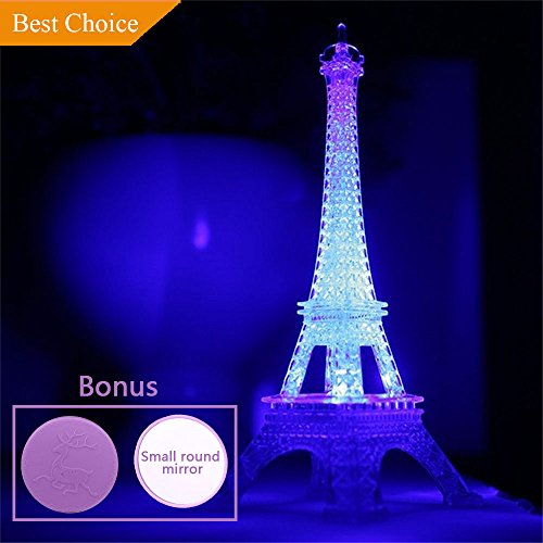 (Eiffel Tower Nightlight Desk Bedroom Decoration LED Lamp Colorful Paris Fashion Style Acrylic 10 Inch Cake Topper Decoration)