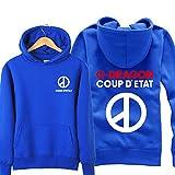 Xin-ze Men and Women Bigbang Sweater Brushed Thick Hooded Jacket B (L, Blue)