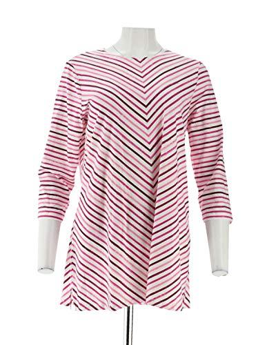 - Denim & Co 3/4 SLV Striped Round Neck Tunic Pink XL New A305331