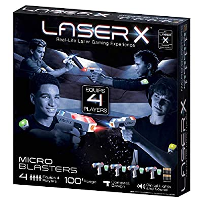 .LASER X. Micro Blasters Real Life Gaming Experience 4-Player Set, Includes 4 Micro Blasters & 4 Arm Band Receivers with Full Color Lighting Effects & Batteries: Toys & Games