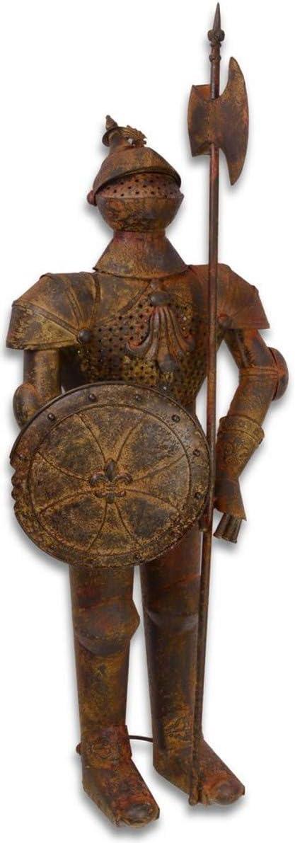 Casa Padrino Armadura Caballero de Hierro con Escudo y Lanza Antigua marrón/óptica óxido H. 140 cm - Decoración Medieval