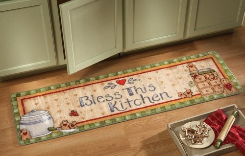 Collections Etc Festive Vintage Gingerbread Kitchen Runner with Non-Skid Rubber -