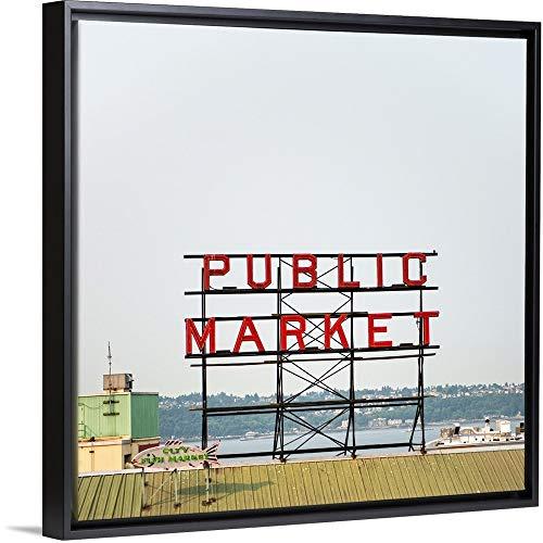 - Public Market Sign, Pike Place Market, Seattle, WA Black Floating Frame Canvas Art, 14