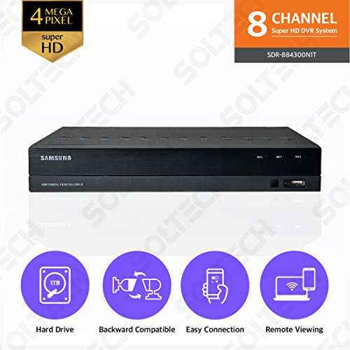 Samsung Wisenet SDR-B84300N1T 8 Channel SuperHD 4MP Security DVR with 1TB Hard Drive (1 Tb Hard Drive Review)
