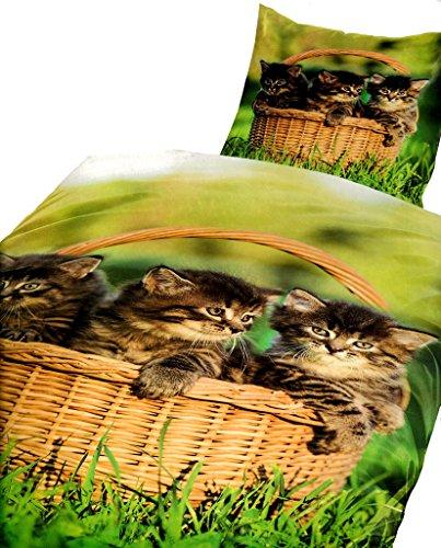 2 tlg. Bettwäsche 135x200 cm Microfaser Garnitur Set Grün Katzen Deckenbezug Kissenbezug Fotodruck mit Reißverschluss
