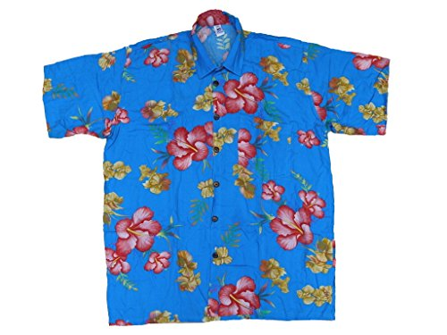 Hawaiihemd Hawai Freizeit Hemd Shirt Viskose blau Hibiskus rot gelb