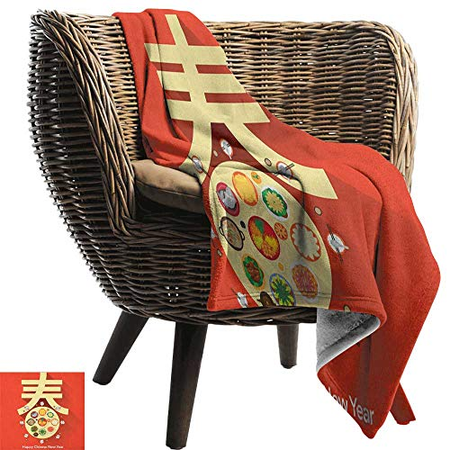 300gsm Sheets 50 (AndyTours Summer Blanket,Chinese New Year,Traditional Family Reunion Dinner Table with Food for The Lunar Festival, Multicolor,300GSM, Super Soft and Warm, Durable 50