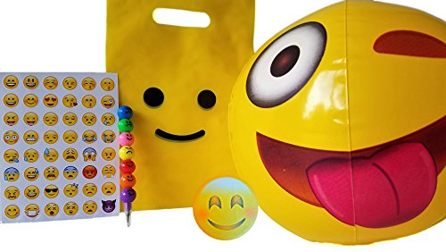 Pre-Assembled Emoji Favor Bags, 6 Pack, Smile Bag Filled with Popular Beach Ball, Pencil, and Sticker - Party 6 Beach Pack