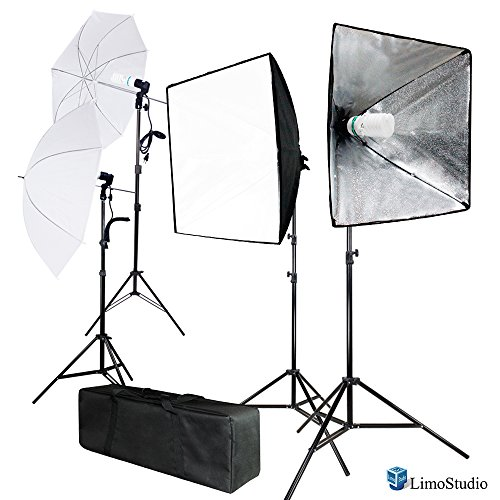 LimoStudio 700W Photo Softbox Lighting Kit, Studio Light Diffuser Reflector 24 x 24 Inch, Photo Equipment Carry Bag, Photography Studio, AGG2138 by LimoStudio