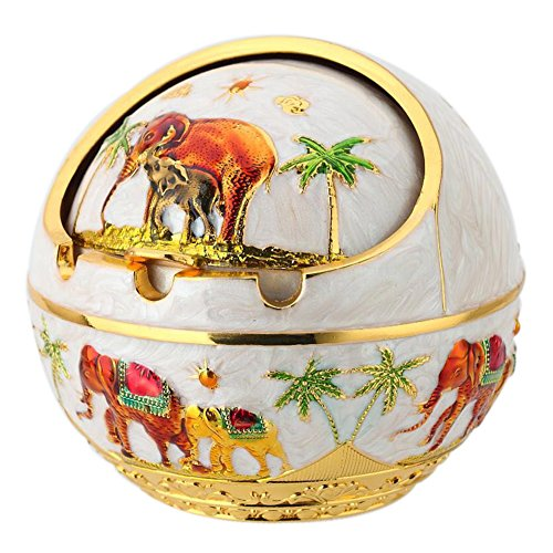 TOWOMO Windproof Ashtray with Lid, Elephant and Coconut Tree Pattern (White and Golden Edge)