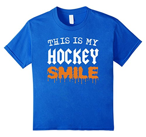 Kids This Is My Hockey Smile Funny Halloween Player Fan T-shirt 10 Royal Blue