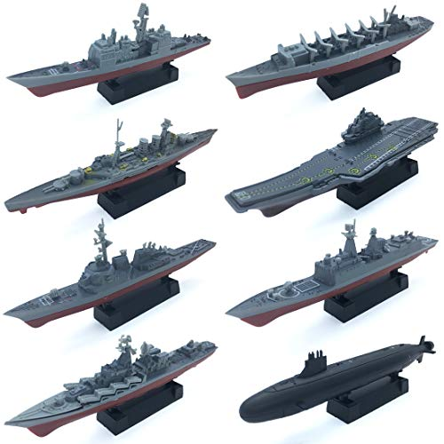 (8 Sets 3D-Puzzle Model Battleship Aircraft Carrier Toy Submarine, Plastic Model Warships Ship Kits, Navy Ship Battleship Models for Collection by Kvvdi )