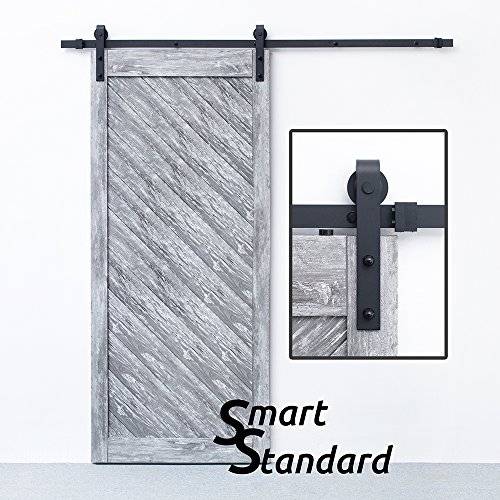 SMARTSTANDARD 6.6 FT Sliding Barn Door Hardware (Black) (J Shape Hangers) (1 x 6.6 foot Rail)­ (Shape Best Face For Round Frame)