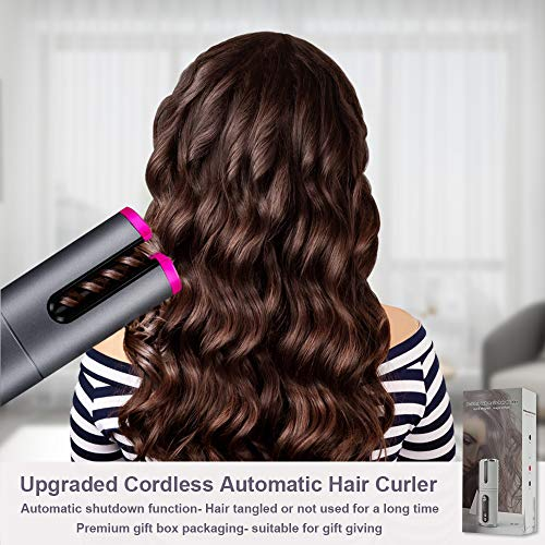 Cordless Automatic Hair Curler, WanderLand Cordless Hair Curler, Auto Curling Iron with LCD Temperature Display and Timer, USB Rechargeable Travel Curling Iron (Upgraded) (Gray)