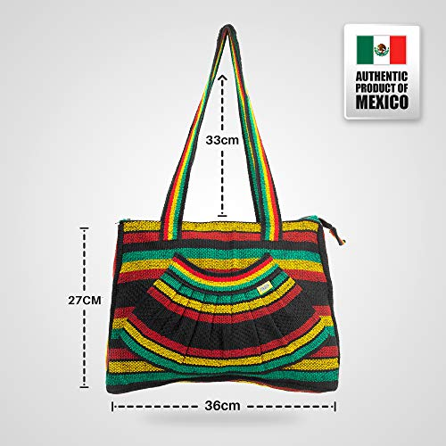 Mexican Bohemian Canvas Tote Hippie Fair Shoulder Casual All Trade Bag Vintage Festival Everyday Handbag ABANICO Ladies Women Hobo Shoulder for Beach PINZON Mayan Aztec Rasta Woven Bag Bag Carry AxwI4U7q